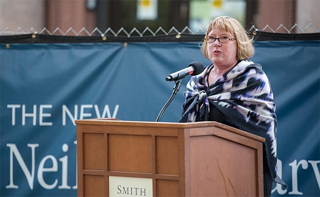 Deborah Duncan speaks at the Neilson groundbreaking