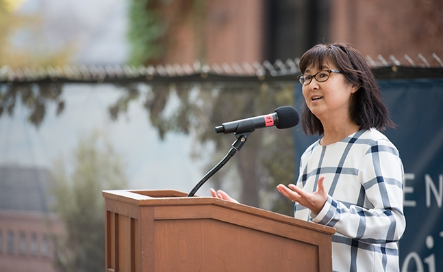 Maya Lin speaks at the Neilson groundbreaking