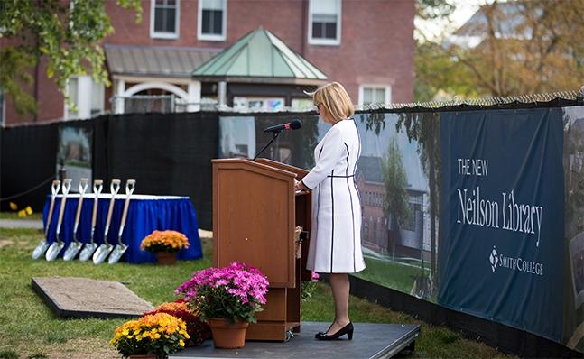 President McCartney speaks at the Neilson groundbreaking