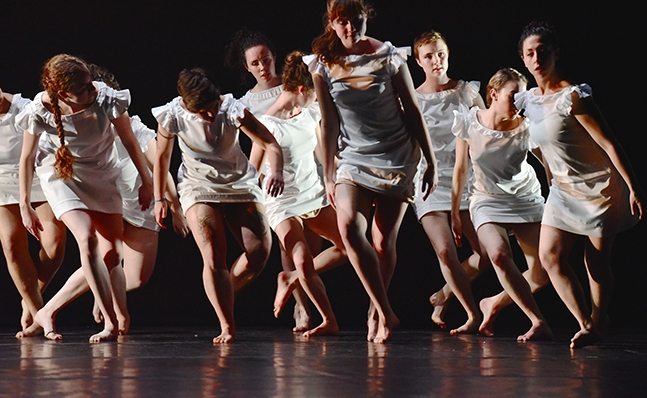 Large group of dancers in performance