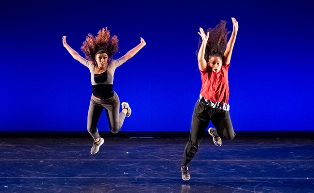 Two dancers in performance