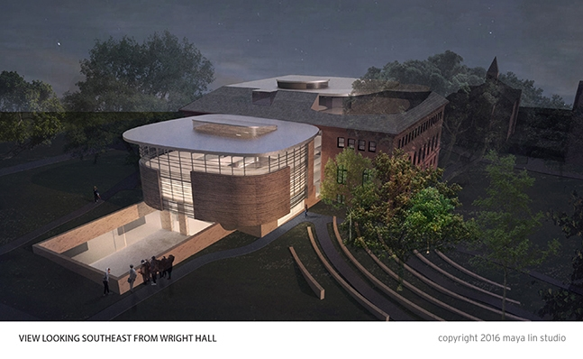 Rendering of Neilson Library from Wright Hall