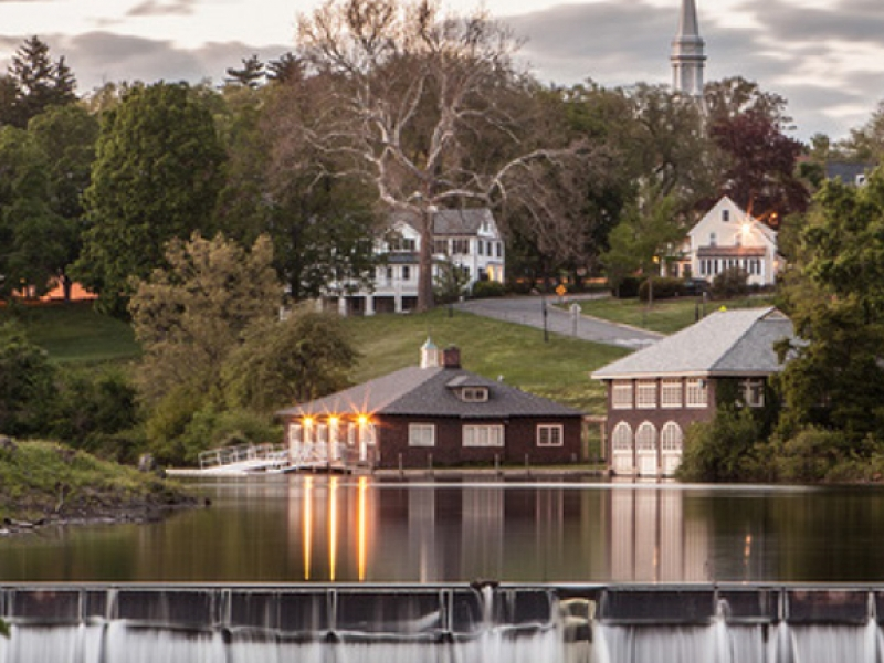 Smith College Boathouse with view of Paradise Pond