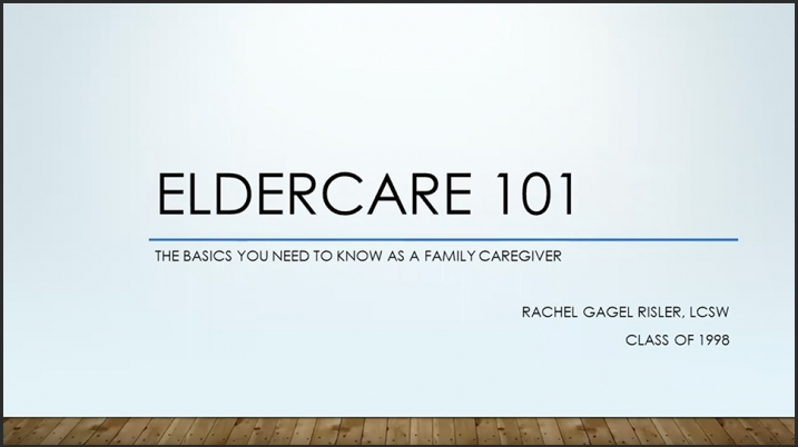 Video still of title screen from Eldercare 101 video