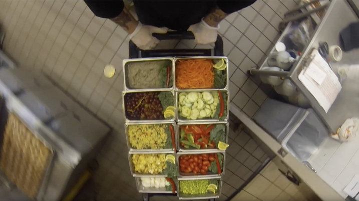 Video still of dining services cart
