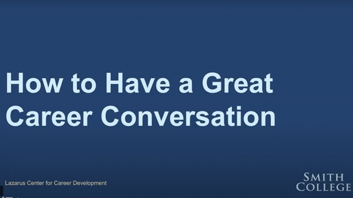 Screen still from Lazarus Center video on how to have a great career conversation