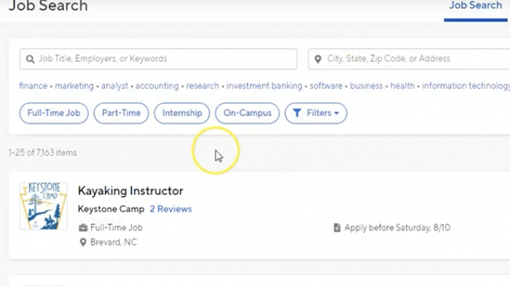 Screenshot of Job Searching on the Handshake Platform