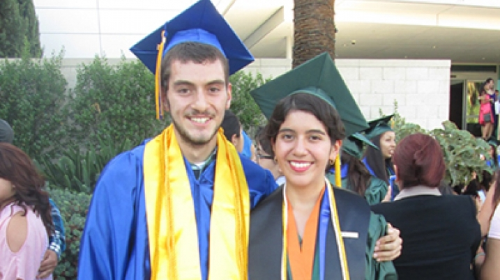 Woman and her brother on graduation day