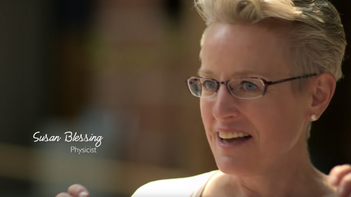 Screenshot of physicist Susan Blessing from the HERStories video