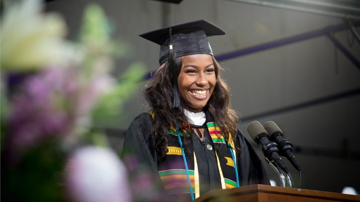 Aminata Khan speaking at Commencement