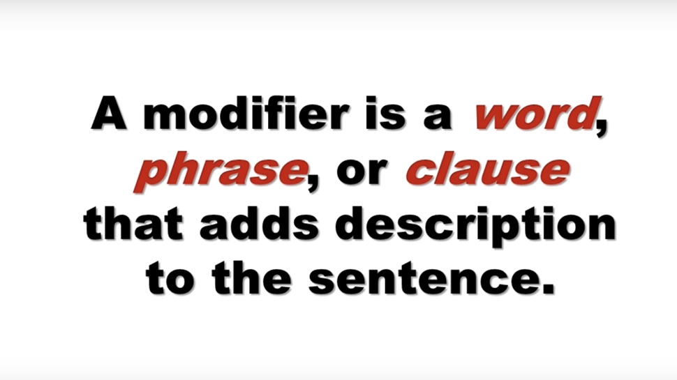 Grammar video about modifiers