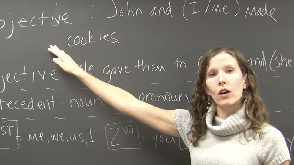Grammar video about pronouns