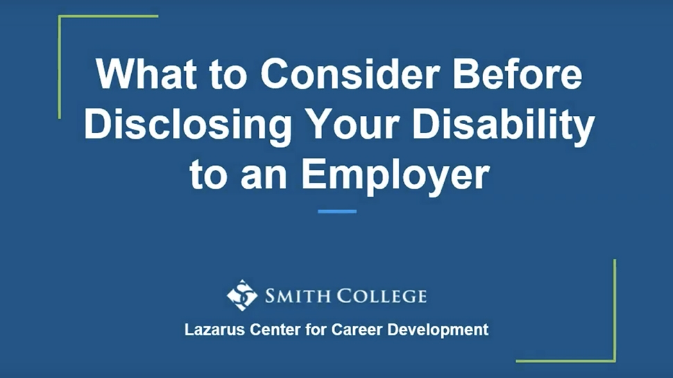 Video still of Disclosing Your Disability to an Employer
