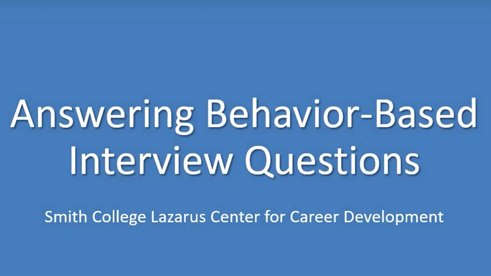 Still for Video on Answering Behavior-Based Interview Questions
