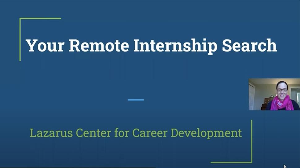 Video still of a Lazarus Center workshop on remote internships