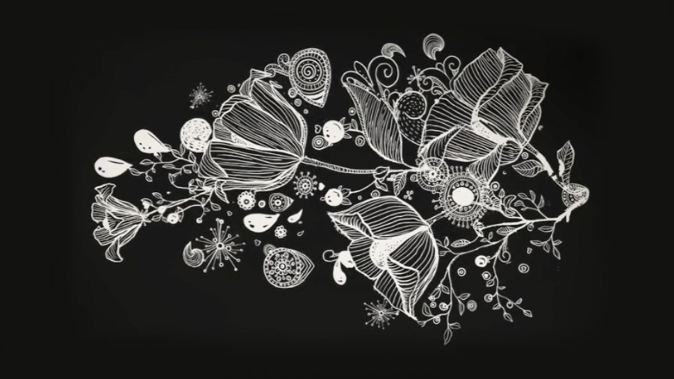 still image taken from a video showing a white floral design on a black background