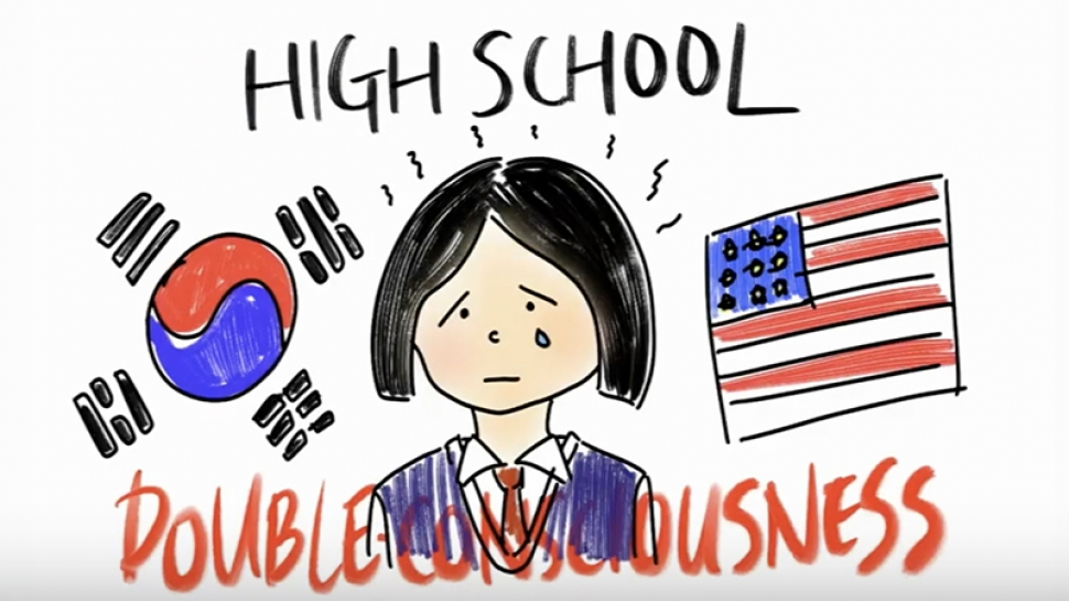 Graphic image of high school student on Vivien Lee '23's video on being an international student