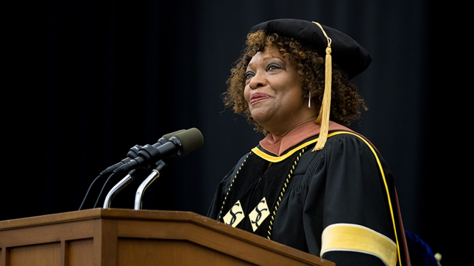 Rita Dove at the podium