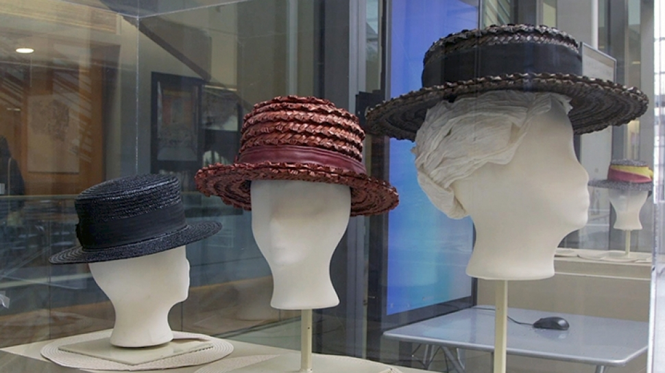 Boater hats on display