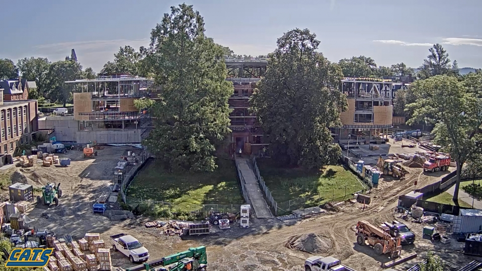 Construction of Neilson Library as seen from Burton Lawn