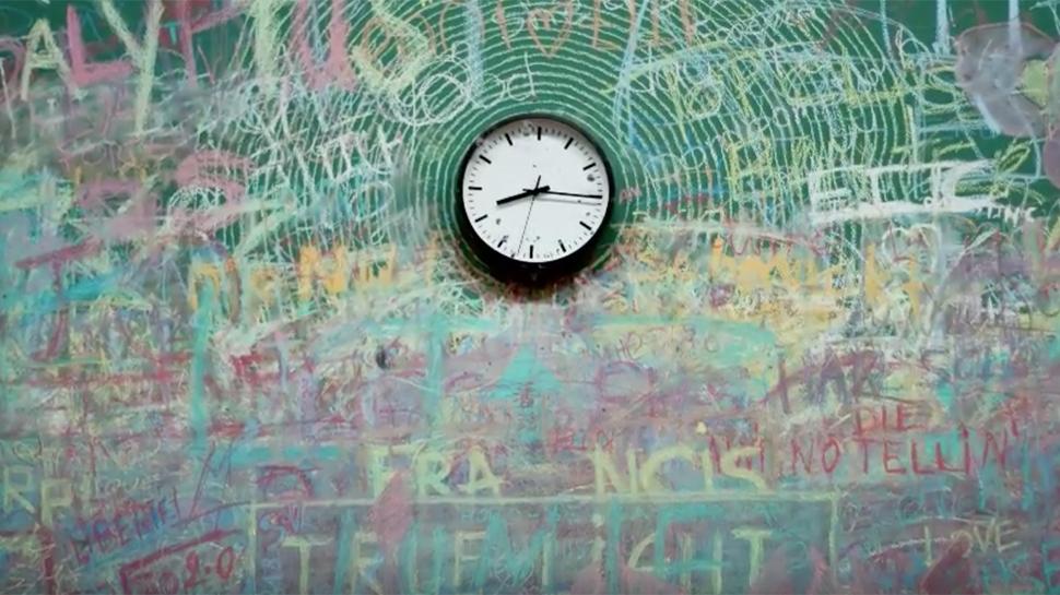 Still image taken from video showing clock in a school