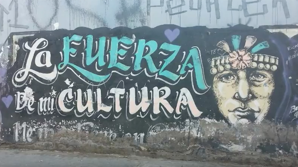 Still image taken from video showing graffiti on a wall