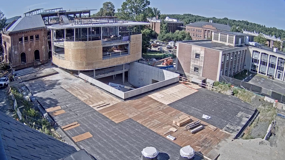 Construction of the north wing of Neilson Library