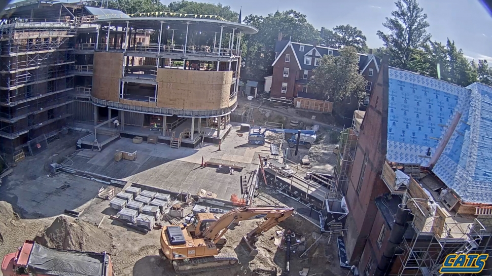 Construction of the south wing of Neilson Library