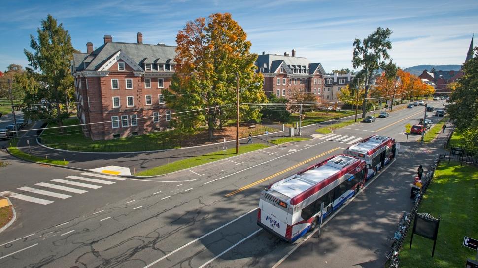 A PVTA bus picking up students at Smith