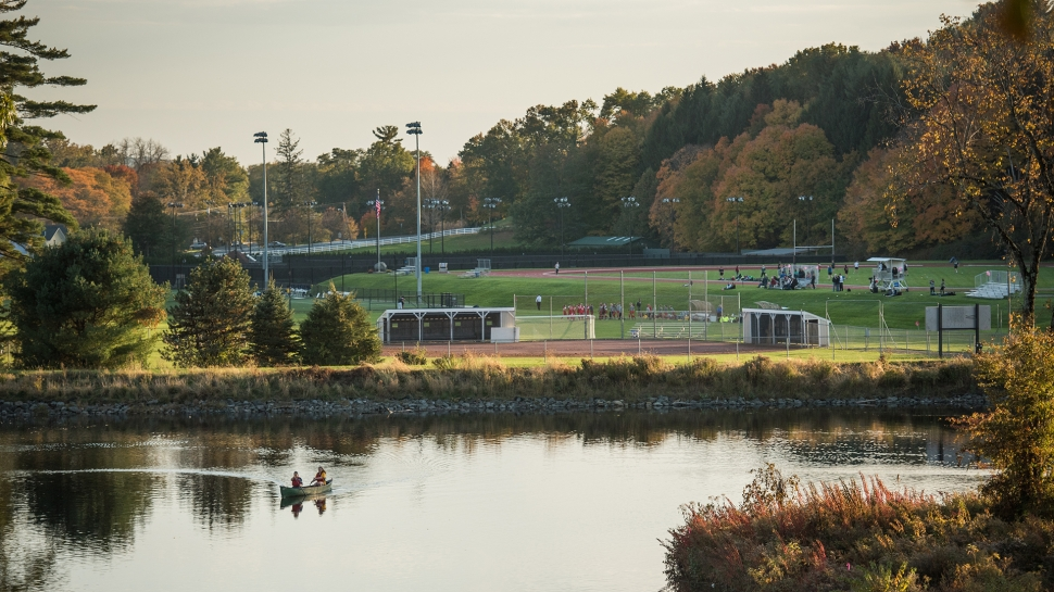 Looking across the pond to the athletic fields
