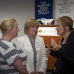 From the left, Smith alumna Dawn Ginnetti, Smith President Kathleen McCarney and Gloria Steinem '56