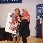 Lynda Connolly (left), chief of staff at Simmons College, with Amal Sawbawi