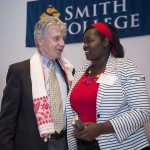 Kevin McCaffrey, director of government and community relations, Mount Holyoke, and Harriet Adong