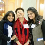 From the left, Delegates Joanna Dhanabalan, Jennifer Liang and Mariya Salim.